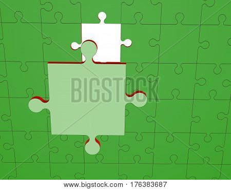 Jigsaw puzzle. Disconnected puzzle. 3D rendering illustration. Digital illustration.