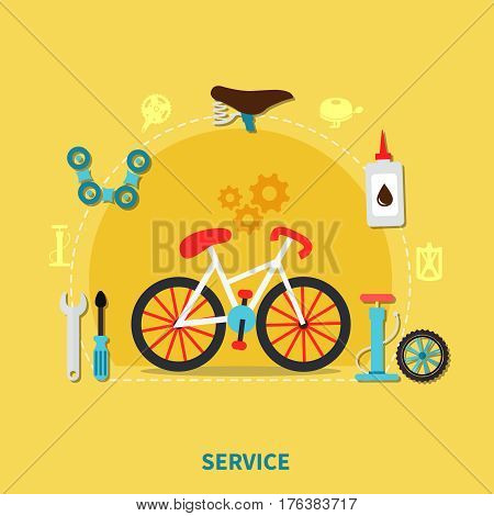 Bike service concept with spare parts symbols on yellow background flat vector illustration
