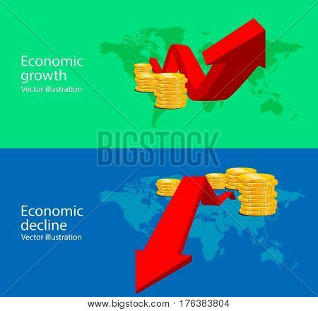 Chart of growth and decline economics. Vector illustration.