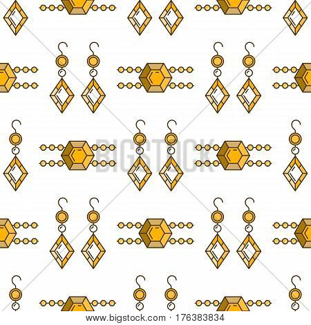 Set of vector jewelry line seamless pattern. Diamond luxury colorful collection. Earrings and bracelet silhouettes. Pearl gold silver gem crystal sapphire element. Treasure collection