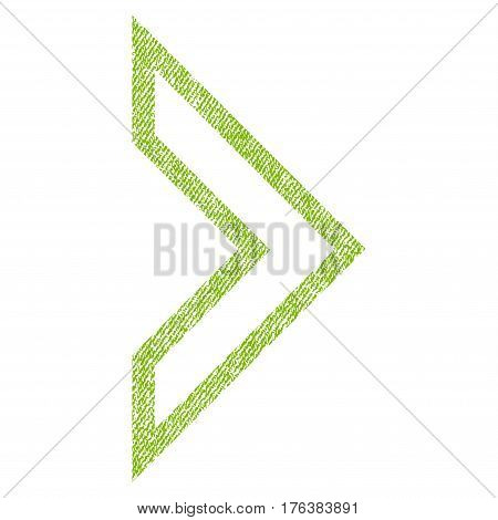 Arrowhead Right vector textured icon for overlay watermark stamps. Fabric light green vectorized texture. Symbol with dust design. Rubber seal stamp with fiber textile structure.