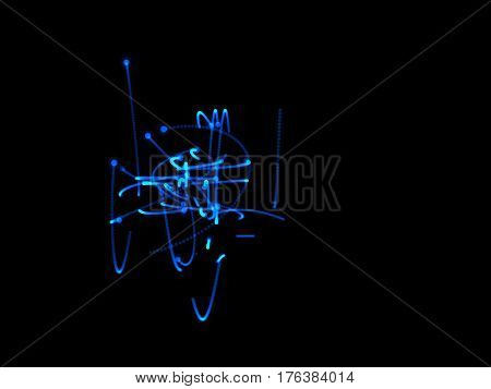 Abstract blue shape of motion particles. Isolated on black background. Luminance effect. Digital illustration.