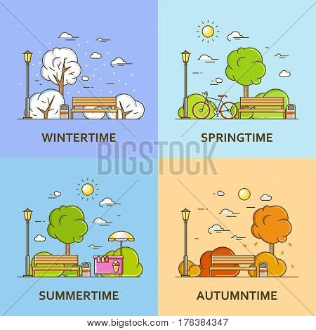 City landscape with bench and street lamp in public park in four season. Vector illustration in flat line style. Spring summer autunm and winter architecture design. Nature background concept