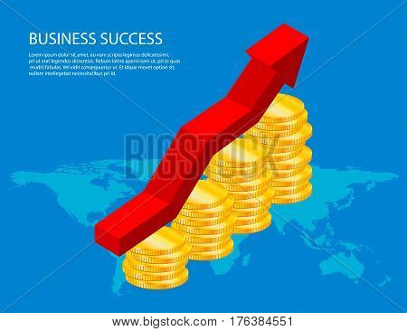 Financial growth diagram economics on world map, concept of business success. Vector illustration.