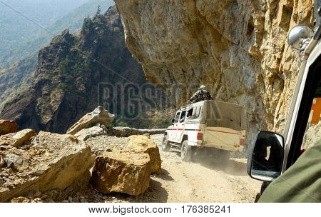 Dangerous mountain road in Himalayas, Annapurna Conservation Area, Nepal