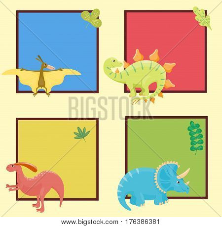 Dinosaur cartoon collection set vector illustratio card template. Cartoon dinosaurs cute monster funny animal and prehistoric character dinosaurs. Cartoon comic tyrannosaurus fantasy dinosaurs.