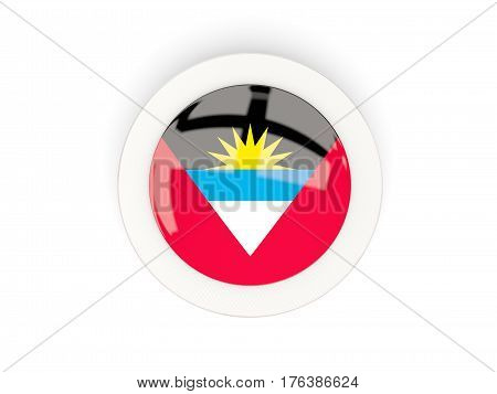 Round Flag Of Antigua And Barbuda With Carbon Frame