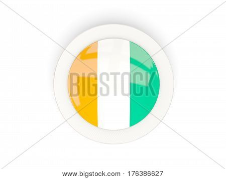 Round Flag Of Cote D Ivoire With Carbon Frame
