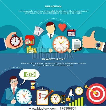 Time management horizontal banners set with compositions of flat people characters gesture symbols clock calendar images vector illustration