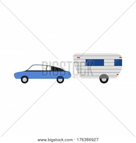 Vector rv trailer illustration. Flat camping icon. Good for the travel agency and camping, outdoor activities, sports and outdoor recreation. Camper truck.