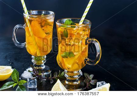 Cold Tea With Lemon, Mint And Ice