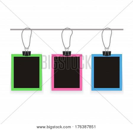 Isolated realistic empty vector photo frames mockup with clips. Template photo design.