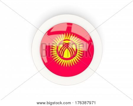 Round Flag Of Kyrgyzstan With Carbon Frame