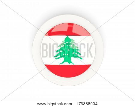 Round Flag Of Lebanon With Carbon Frame