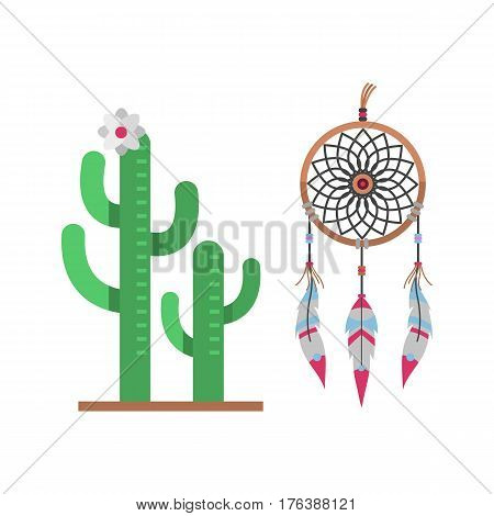 Cactus flat style nature desert flower green cartoon drawing graphic mexican succulent and dreamcatcher tropical plant garden art cacti floral vector illustration. Style prickly sign.