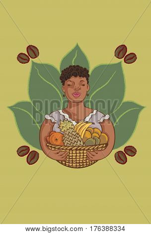 Caribbean woman holding an exotic fruit basket