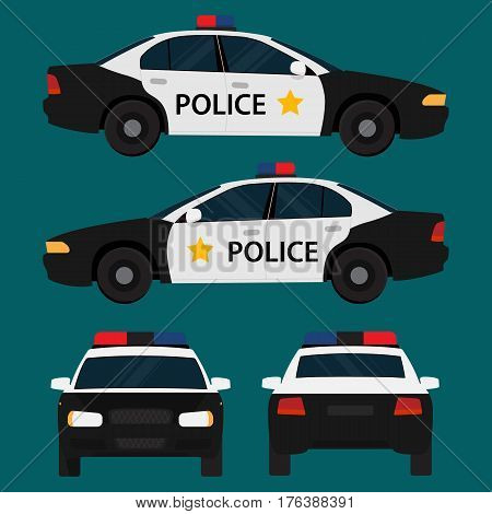 Vector police car, four view, top, side, back, front. Flat illustration icons.