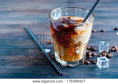 Iced Coffee With Milk In Glass