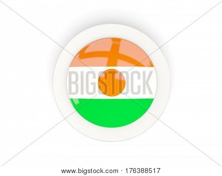 Round Flag Of Niger With Carbon Frame