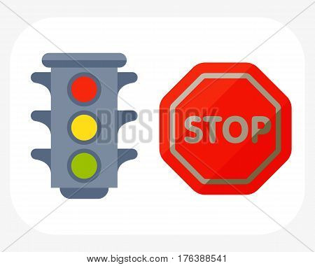 Traffic lights isolated on white background and cartoon safety stop warning transportation danger urban signal vector illustration. Prohibitive transmission garage change vehicle automobile mechanic.
