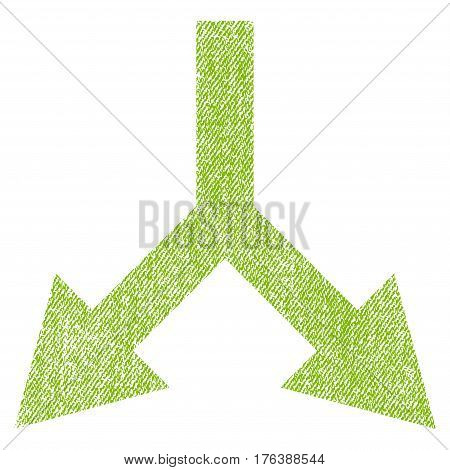 Bifurcation Arrow Down vector textured icon for overlay watermark stamps. Fabric light green vectorized texture. Symbol with dust design. Rubber seal stamp with fiber textile structure.