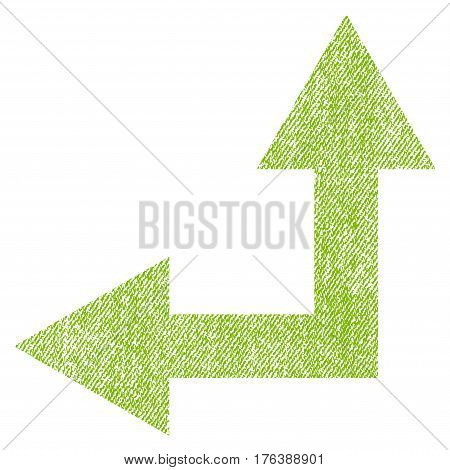 Bifurcation Arrow Left Up vector textured icon for overlay watermark stamps. Fabric light green vectorized texture. Symbol with unclean design. Rubber seal stamp with fiber textile structure.