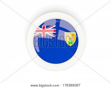 Round Flag Of Turks And Caicos Islands With Carbon Frame
