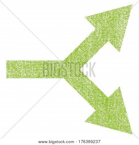 Bifurcation Arrow Right vector textured icon for overlay watermark stamps. Fabric light green vectorized texture. Symbol with dust design. Rubber seal stamp with fiber textile structure.