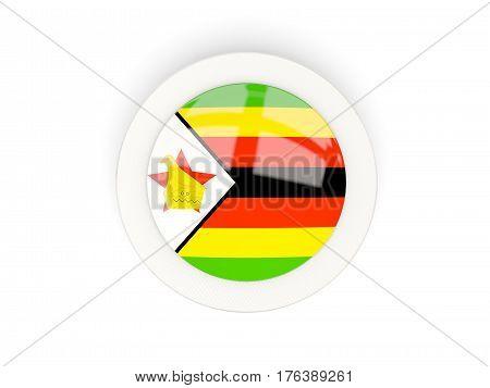 Round Flag Of Zimbabwe With Carbon Frame