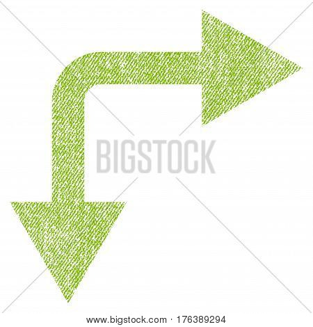 Bifurcation Arrow Right Down vector textured icon for overlay watermark stamps. Fabric light green vectorized texture. Symbol with dirty design. Rubber seal stamp with fiber textile structure.