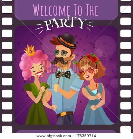 Photo booth party invitation in form of frame of photographic film with happy cartoon people dressed in carnival costumes vector illustration