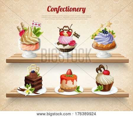 Confectionery with colorful desserts and yummy cakes on wooden shelves on textured beige background vector illustration