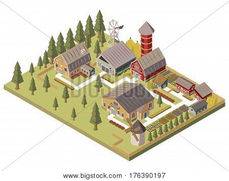Farm buildings design with windmill barn and silo sheds hay garden beds and trees isometric vector illustration