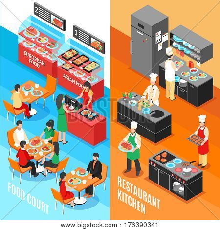 Set of two food court vertical banners with isometric interior compositions of restaurant and kitchen rooms vector illustration