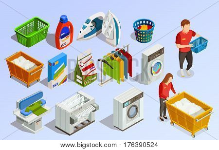 Laundry isometric dry-cleaning set with cleaning agents washing machines clothes dryer and faceless human characters vector illustration
