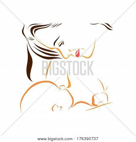Mother with baby nursing mother with newborn baby breast feeding female health proper nutrition lactation care and maternity drawing sketch as the logo of the medical center for maternal and child health