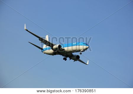 Amsterdam the Netherlands - May 6th 2016: PH-BXY KLM Royal Dutch Airlines Boeing 737 approaching Schiphol Zwanenburg runway arriving from Oslo Norway