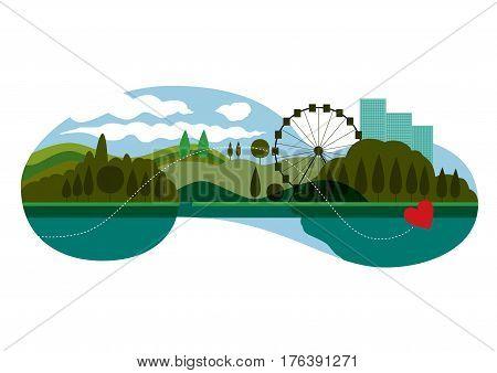 Vector landscape: Ferris Wheel and luna park