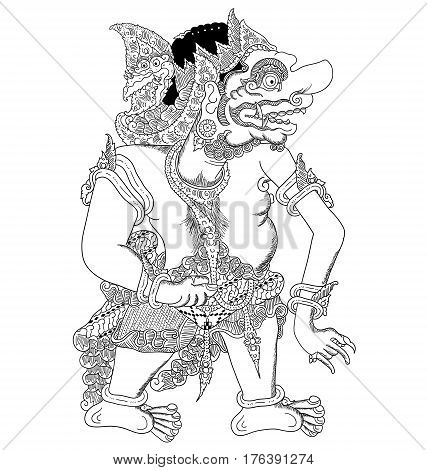 Brajawikalpa, a character of traditional puppet show, wayang kulit from java indonesia.