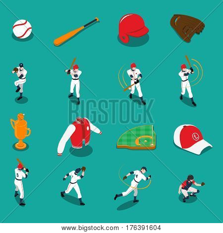 Baseball set of isometric icons with players sports gear and trophy on turquoise background isolated vector illustration