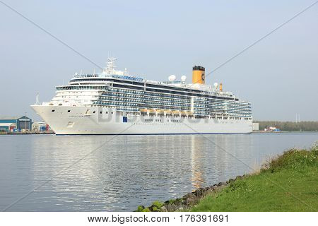 Velsen The Netherlands - May 10 2015: Costa Luminosa. Costa Luminosa is a cruise ship owned and operated by Costa Crociere built by Fincantieri Marghera shipyard in 2009. It's 292 m (958 ft) long.