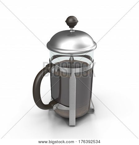 French Press Coffee or Teapot on white background. 3D illustration