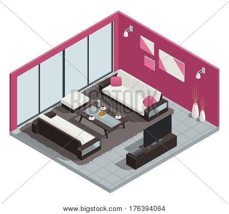 Dining room isometric composition with sofa table and windows vector illustration