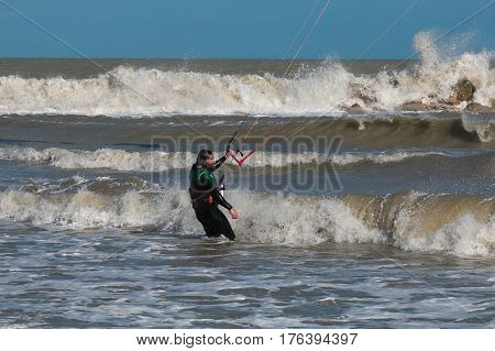 BALI - MARCH 10, 2017: Kitesurfing on the Bali beach