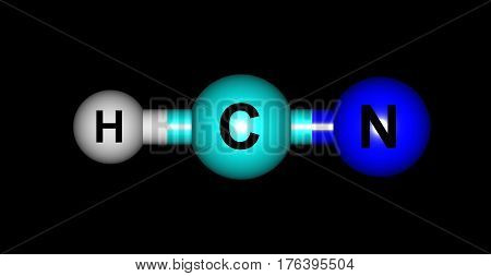 Hydrogen cyanide or Formonitrile is a chemical compound with the chemical formula HCN. It is a colorless extremely poisonous and flammable liquid that boils slightly above room temperature. 3d illustration