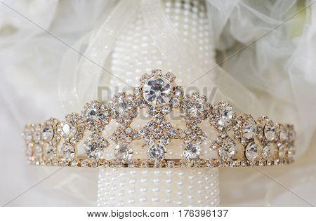 Closeup Of Bridal Tiara Jewelry