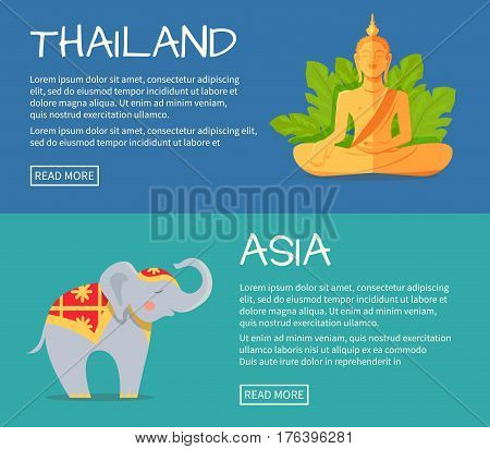 Set of Asia and Thailand web banners. Monument of Buddha and cute elephant in ornamented cape flat vector illustrations. Horizontal concepts with Asia related symbols for travel company landing page
