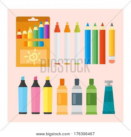 Colored engineering paints and pencils vector illustration simple equipment school supplies subject secretarial tools pastel vertical color education sign. Hand drawn signs for creation game.