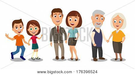 Set generations couples holding hands. Different ages from child to old people. Color flar vector illustration isolated on white background