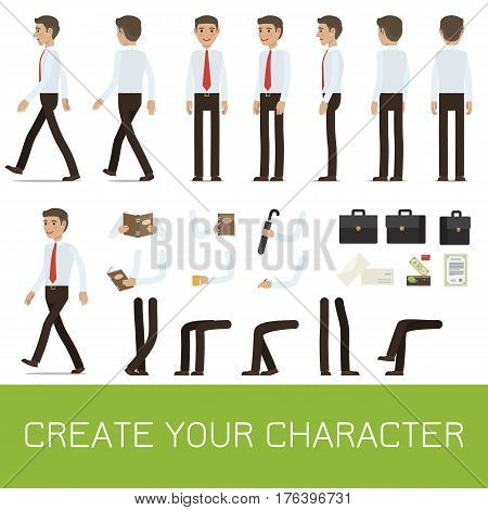 Businessman personage generator with smiling man in shirt and tie for creating your character. Man figure with body parts, objects in hands and business attributes flat isolated vector illustrations